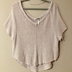 Free People Distressed Pullover Tan Sweater Size M